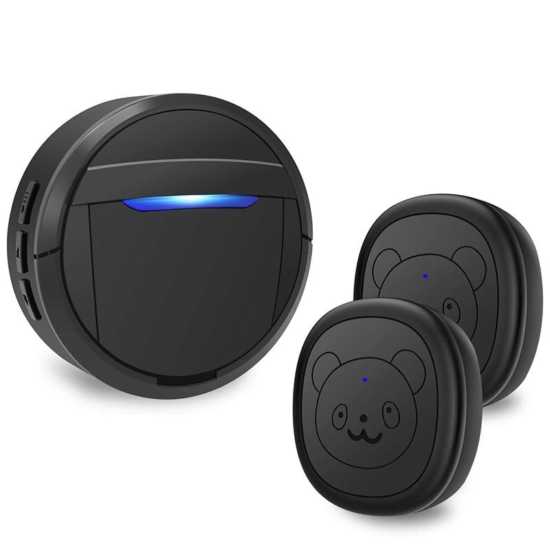 Dog Doorbell, Black & White Wireless Communication Doorbell , Waterproof Smart Bell for Puppies with Super-Light Press Button, I-0