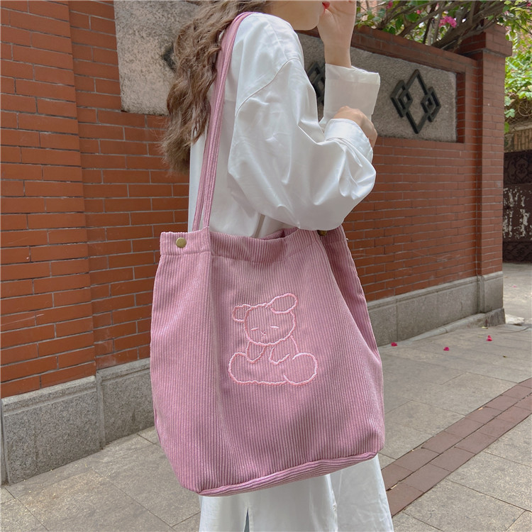 Corduroy Embroidered Women Large Shoulder Bag Lovely Bear Girls Student Cloth Handbags Eco Reusable Ladies Shopping Tote Bags