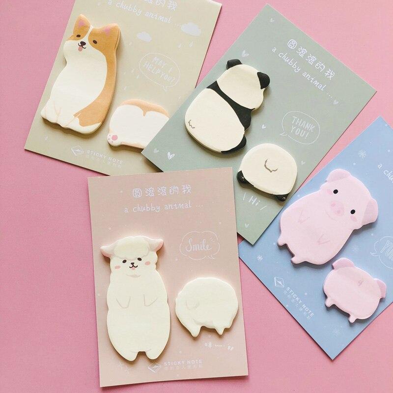 1X Kawaii Panda Puppy Alpaca Memo Pad Sticky Notes School Supply Stationery