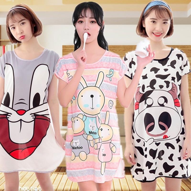 23styles Women's Cute Nightgown Milk Silk Home Dresses Sleepwear Short Sleeve Nightdress Female Sleepshirts Summer Home Clothing