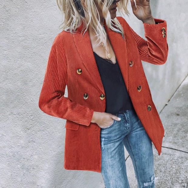 Autumn Women Corduroy Blazer Solid Thick Retro Double Breasted Blazer Office Coats Suits Outerwear