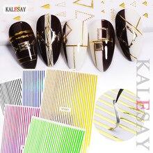 Ouro 3d etiqueta do prego linhas tira 12 cores auto adesivo arte do prego transferência adesivos decalques manicure design unhas arte adesivos