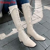 Krazing Pot cow leather med heel square toe equestrian cross tied fashion keep warm European design Korean thigh high boots l7f1