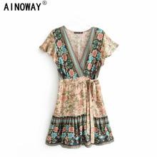 Vintage chic kadınlar çiçek baskı v yaka rayon pamuk tatil Bohemian mini elbise bayanlar kısa kollu Boho elbiseler vestidos
