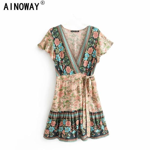 Vintage chic women floral print V neck rayon cotton Vacation Bohemian mini dress Ladies short sleeve  Boho dresses vestidos