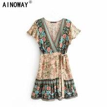 Đầm sang trọng nữ in hoa Cổ Chữ V Rayon cotton Kỳ Nghỉ Bohemian Mini Nữ Ngắn Tay Boho Áo vestidos