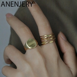 ANENJERY Fashion Irregular Round Circle Geometric Ring Gold Silver Color Open Finger Ring For Women Men S-R715