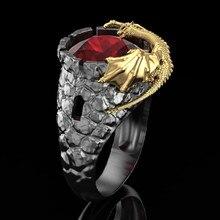 Punk tarzı kişilik otoriter erkek yüzük altın ejderha koruma doğal kırmızı kristal takı erkek ziyafet parti Band yüzük
