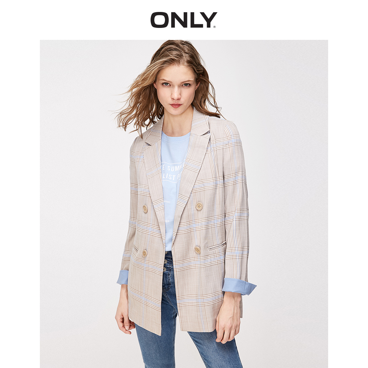 ONLY Women's Loose Fit Thin Double-breasted Blazer   119108540