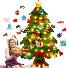 Войлочная Рождественская елка «сделай сам», мягкая Рождественская елка с украшениями и светильник рляндой, рождественские украшения, Рожд...