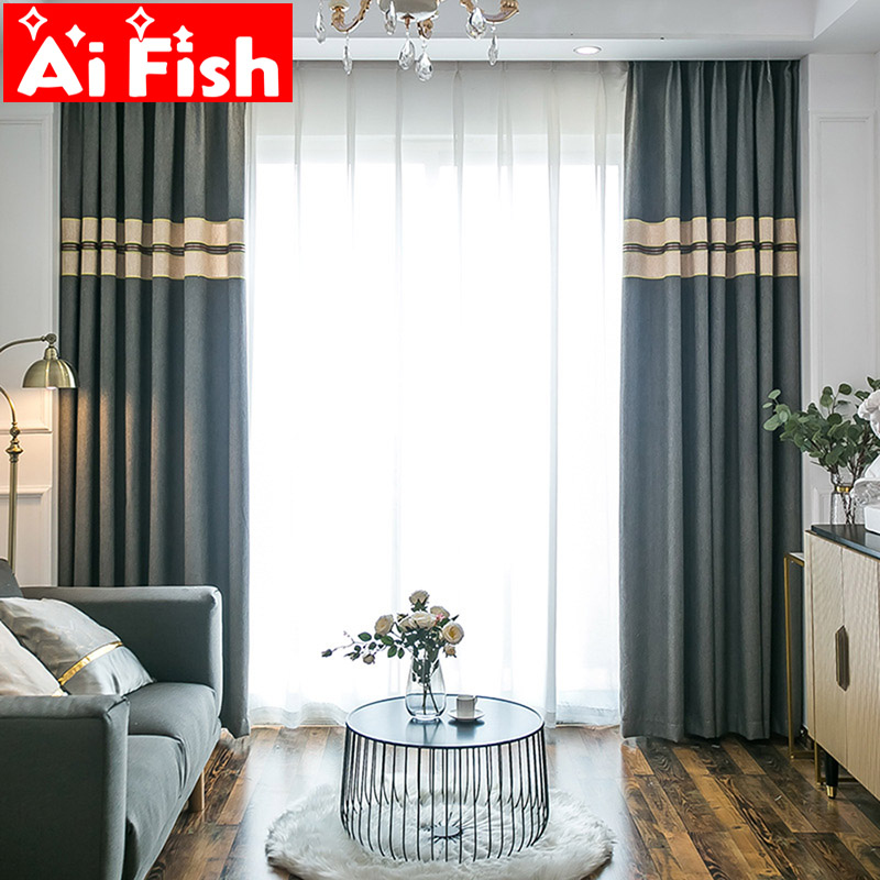Modern Nordic Fashion Simple Solid Stitching Curtains For Living Room Blue And Gray Bedroom Blackout Curtain Fabrics MY143-5