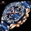 Мужские спортивные часы Chrono 3  модные наручные часы с подсветкой из нержавеющей стали синего и розового золота  2019