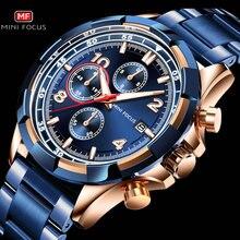Reloj deportivo militar para hombre, cronógrafo luminoso de cuarzo azul, rosa y dorado, MINI enfoque, 2020