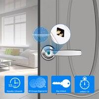 Fechadura eletrônica impressão digital  inteligente  com entrada  sem chave  fechadura  chave mecânica  para segurança da porta