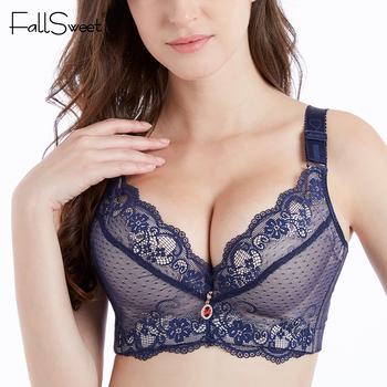FallSweet Push Up Padded Bras for Women Lace Plus Size Bra Add Two Cup Underwire Brassiere A B C Cup