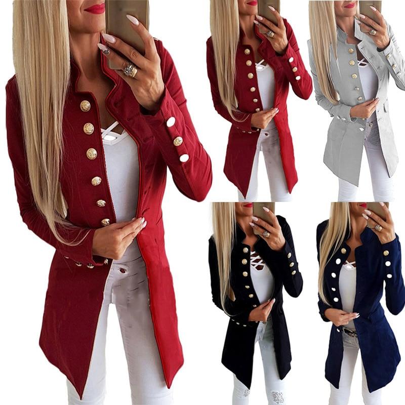 New Arrival Women Ladies Casual Single-breasted Formal Long Blazer Jacket Slim Fit Coat