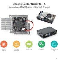 NanoPC-T4 dissipador de calor com ventilador  caixa de metal  suporte para PWM auto-ajustar o Ubuntu Android