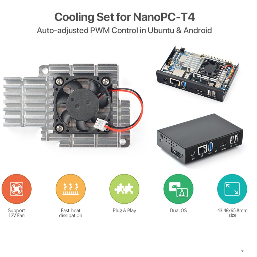 NanoPC-T4 Heat Sink With Fan, Metal Case, Support For PWM Auto-adjusting Android Ubuntu