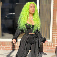 Charisma Hair Synthetic Lace Front Wig Free Part Glueless Heat Resistant Fiber Green Wigs for Women 180% Full Density