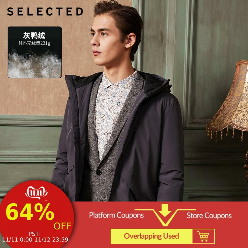 SELECTED Hooded Draw String Leisure Down Jacket New Men Coat Warm Duck Down Long Male Clothes S | 418412532