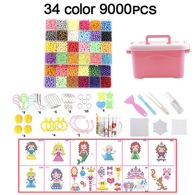 9000pcs DIY Fuse Beads Magic Water Creative Beads Set Pen Tweezer Pegboard Kit Accessories Girls Gift Kids Toys For Children