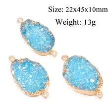 Natural Quartz Agates Double Hole Connector Pendants Charms For Women Jewelry Making Necklace DIY Bracelet Accessories