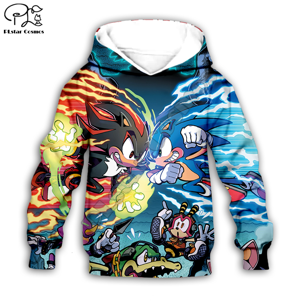 Kids Super Sonic The Hedgehog Print 3d Galaxy Hoodies Set Cartoon Baby Anime Sweatshirt Boys Children Zipper Coat Tshirt Pants