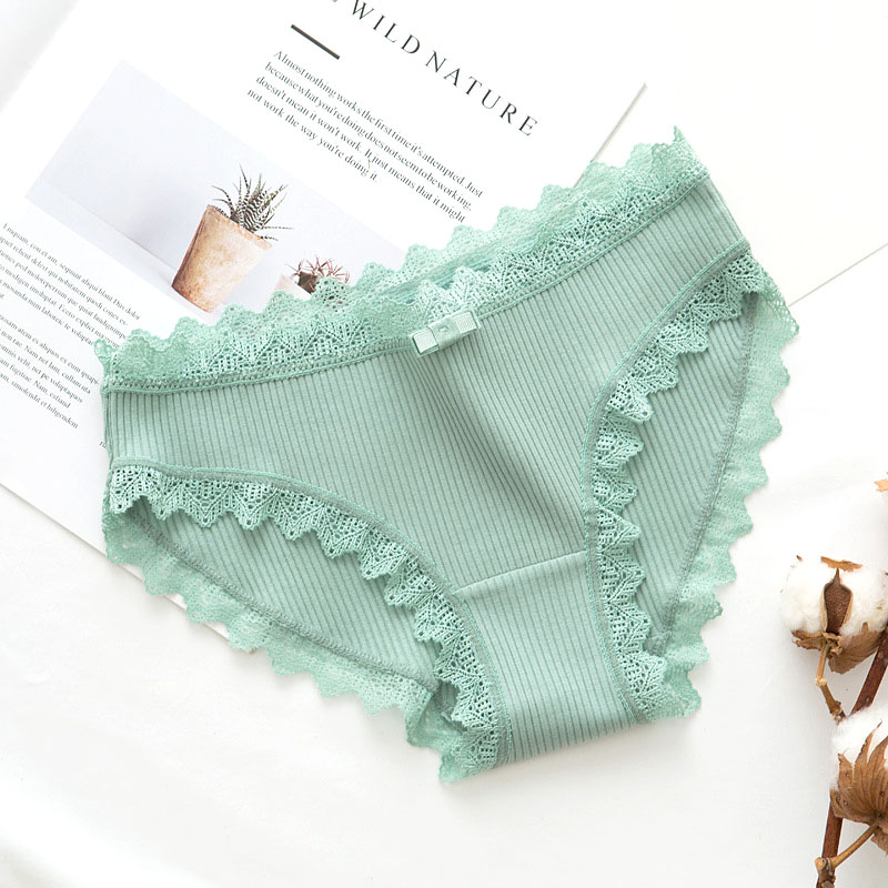 Lace Sexy Panties Women's Cotton Underwear Seamless Cute Girls Bow Briefs Lingerie Fashion Female Sexy Solid Color Underpanties