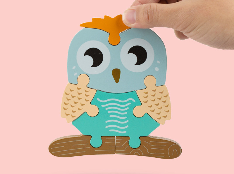 High quality baby 3D wooden puzzle educational toys early learning cognition kids cartoon grasp intelligence puzzle 3