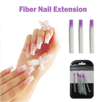 10Pcs/pack Nail Form Fiber Rnail Acrylic Fiberglass Extension Fiber Glass for Nail Silk Building Extension Manicur Sticker Nail image