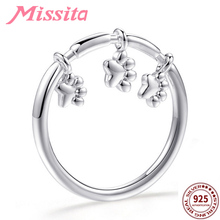 MISSITA 100% 925 Sterling Silver Cute Puppy Footprint Rings for Women Jewelry Brand Crystal Ring Anniversary Gift