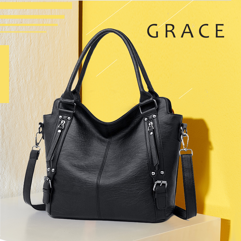 Women Messenger Bag Big 2020 New Brand Leather Female For Shoulder Pommax Tote Genuine Leather Women