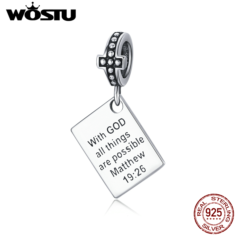 WOSTU 925 Sterling Silver Bible Charms With God all things are possible matthew Religion Beads Fit Bracelet Jewelry CQC1424(China)