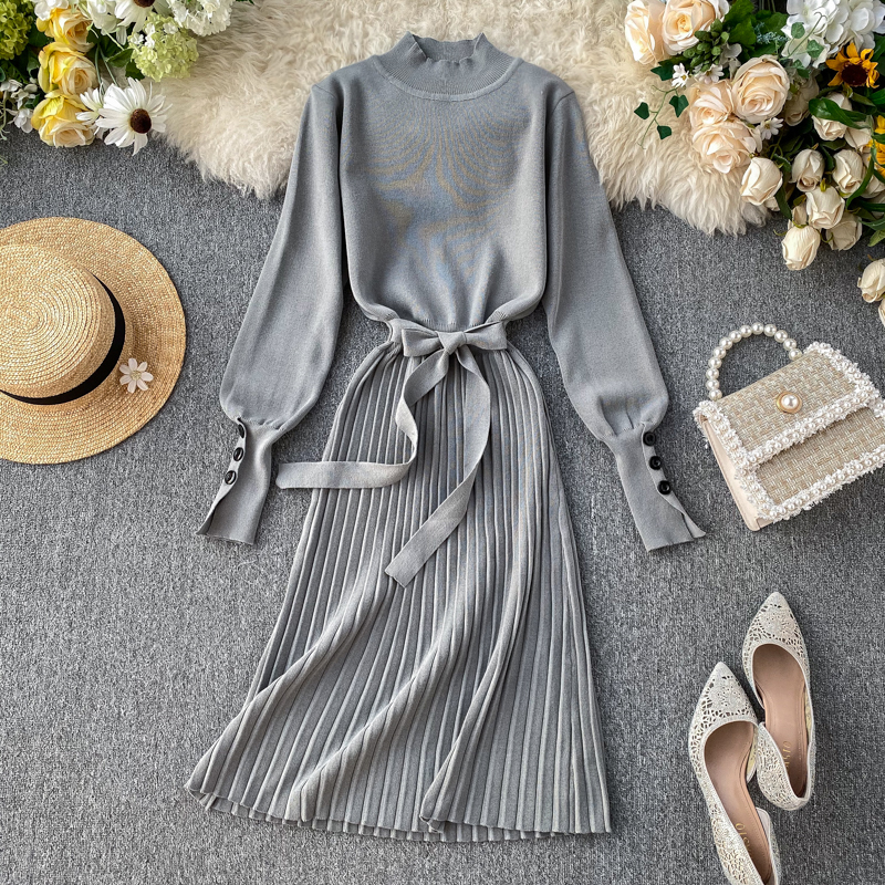 ALPHALMODA High Collar Buttons Sleeve Pleated Women Autumn Winter Sashes Tie Pleated Knit Dress Female Vintage Classical Dress 71