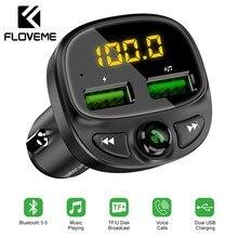 FLOVEME USB araba şarjı telefon için Bluetooth kablosuz FM verici MP3 çalar çift USB şarj TF kart müzik handsfree araç kiti
