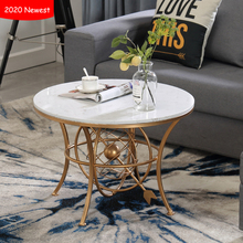 Marble small side table for living room furniture sofa table modern luxury coffee table 2020 new design creative tea table luxury metal round small tea table coffee table with tray storage for sofa bed side living room mesa auxiliar home furniture