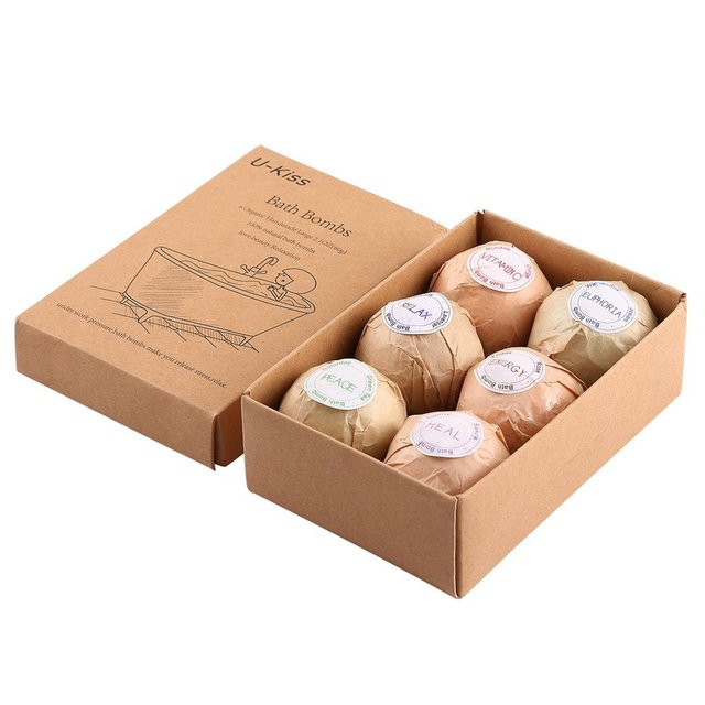 6 pcs Organic Bath Bombs Bubble Bath Salts Homemade Stress Relief Lavender Lemon Peppermint Chamomile Milk Jasmine Flavors 2