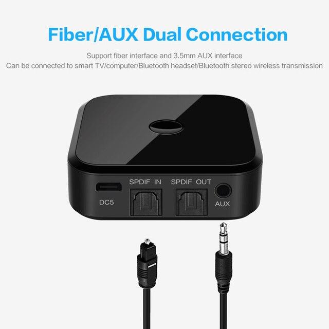 بلوتوث 5.0 HD الصوت جهاز ريسيفر استقبال وإرسال يدعم 3.5 مللي متر AUX SPDIF محول التلفزيون الرقمي اللاسلكي