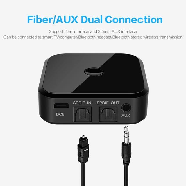 Bluetooth 5.0 HD Audio Transmitter Receiver Supports 3.5mm AUX SPDIF Digital TV Wireless Adapter