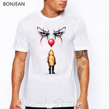 IT movie ste stephen king clown printed funny t shirts men summer Tops Tee shirt homme halloween pennywise white anime t shirtv(China)