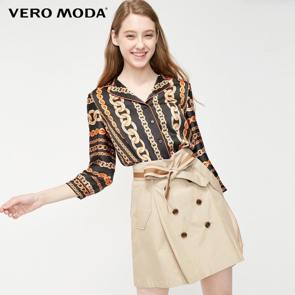 Vero Moda Women's 3/4 Sleeves Printed Losse Fit Chiffon Shirt | 319231536