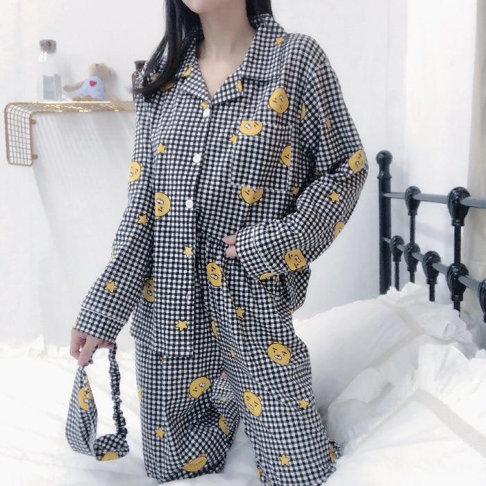 Black And White Lattices Kakao Lion Ryan Celebrity Style Cute Cartoon Spring And Autumn Women's Long-Sleeve Korean-style Pajamas