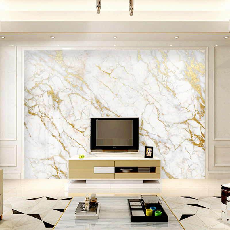 Jointless Custom Wallpaper Mural Gold Silk White Marble Wall Papers Home Decor Wallpaper For Living Room Bedroom Background