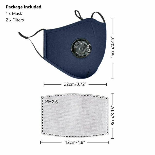 PM2.5 Valved Mask Dust Respirator Mask Washable Reusable Face Masks Cotton Unisex Mouth Mask Muffle + 2pc Filter Air Pads 3