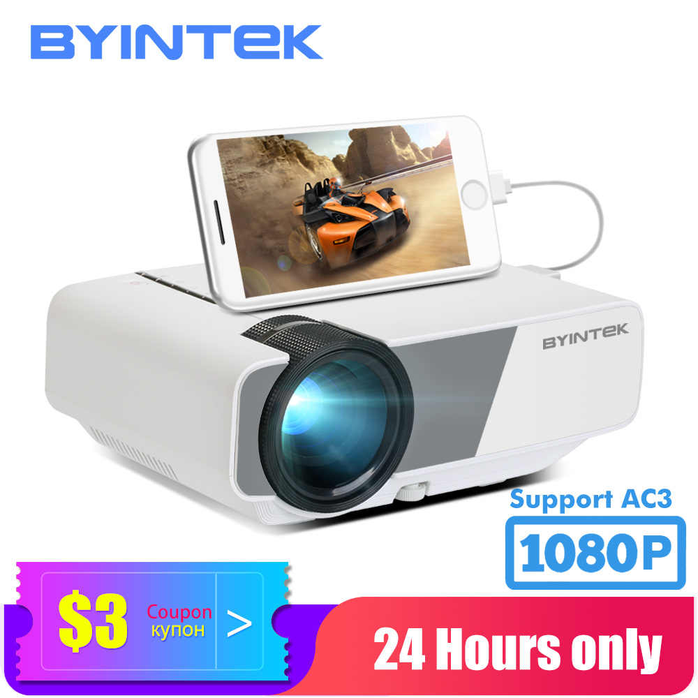 BYINTEK Proyektor Mini K1plus, Portable Home Theater Beamer,LED Projector untuk Smartphone 1080P 3D 4K Cinema Stock Di Brazil