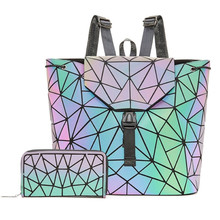 Women Backpack Holographic Luminous Backpacks Girl School Bag For Student Backpack Geometric foldable Shoulder Bags and purse kisumater matt color backpacks women bag geometry sequins folding luminous baobao backpack student s school bag free shipping