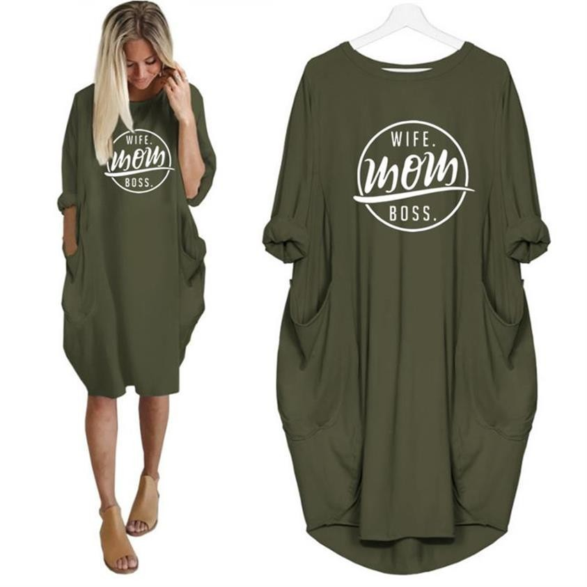 2019 Fashion T-Shirt <font><b>Dress</b></font> for Women Pocket WIFE MOM BOSS Letters Print <font><b>Dresses</b></font> Plus Size Female <font><b>Graphic</b></font> Loose <font><b>Tshirt</b></font> <font><b>Dress</b></font> image