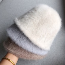Hat Bucket-Cap Fisherman's-Hat Knitted Rabbit-Fur Winter Solid-Color Women's And Autumn
