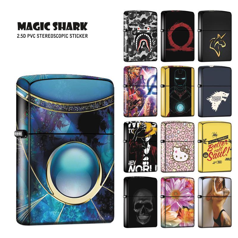 Magic Shark 2.5D High Quality Sticker Case Sexy Lady Toroto Game Of Thrones Flower Skull IRon Man Avengers Film Skin For Zippo