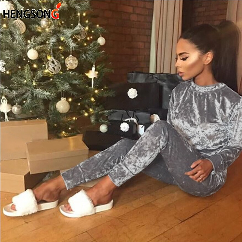Autumn Winter Women Tracksuit Velvet Hoodies + Pants 2 PCS Sport Sets Female Velour Fitness Set Traning Exercise Gym